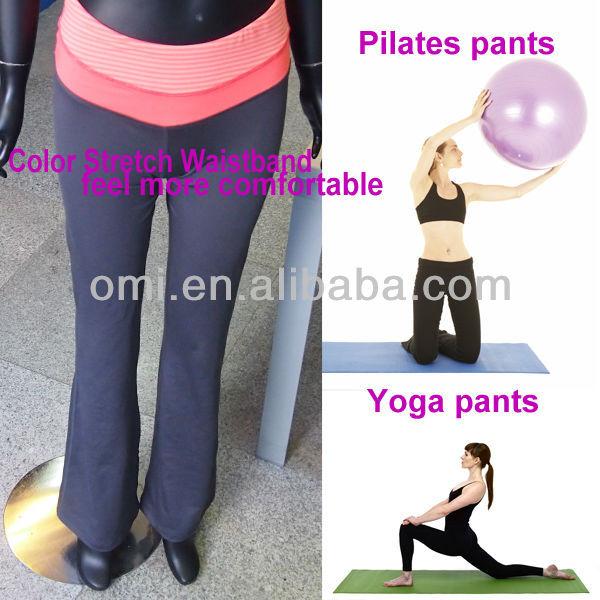 pilates estiramiento pantalones negropantalones de yoga pantalones ropa de  deportecolor laminado en la cintura para mujer 629656e4d805