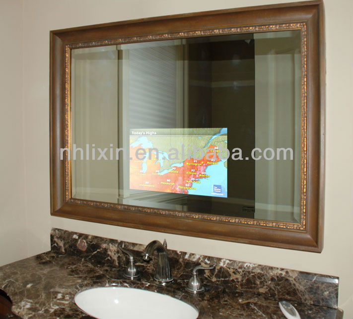 Framed bathroom vanity mirror quality LED TV mirror wall mounted for easy installation