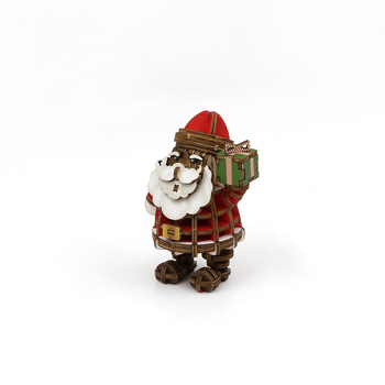 Wholesale Manufacturer Assembly Game Educational Intelligent Handmade Christmas Decoration Santa Claus 3D Wooden Jigsaw Puzzle