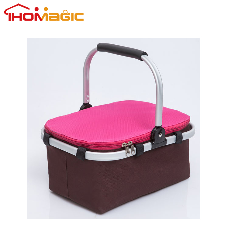 STOCK ITEM!! Outdoor insulated picnic cooler basket with handle and zipper