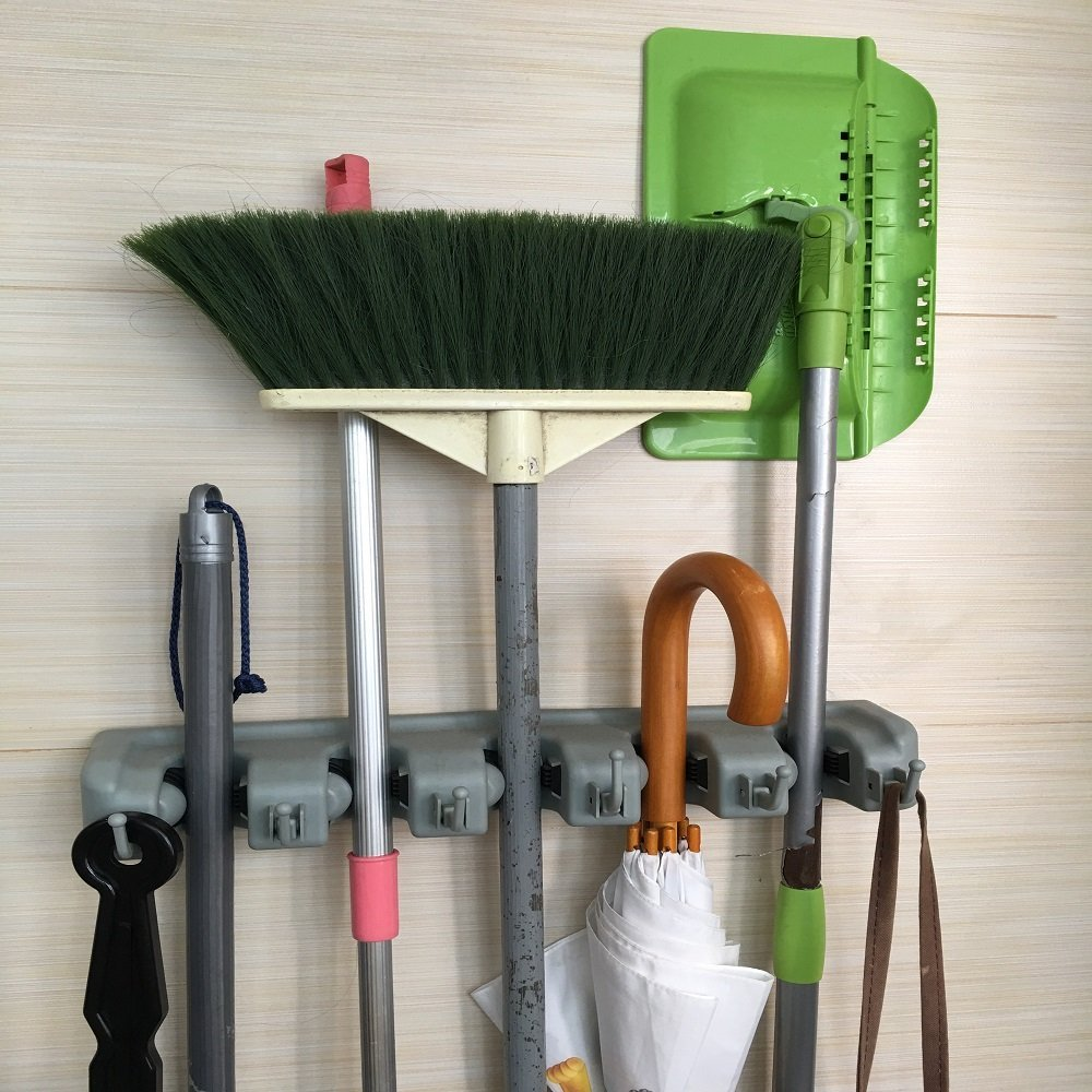 Broom Mop Holder Organizer Garage Storage Hooks Wall Mounted And