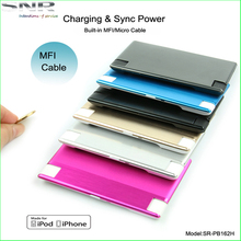 high quality built-in MFI cable rechargeable battery card size slim power bank metal case power station for iPhone iPad
