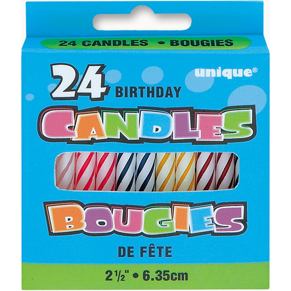 Get Quotations Assorted Color Striped Birthday Candles 24ct