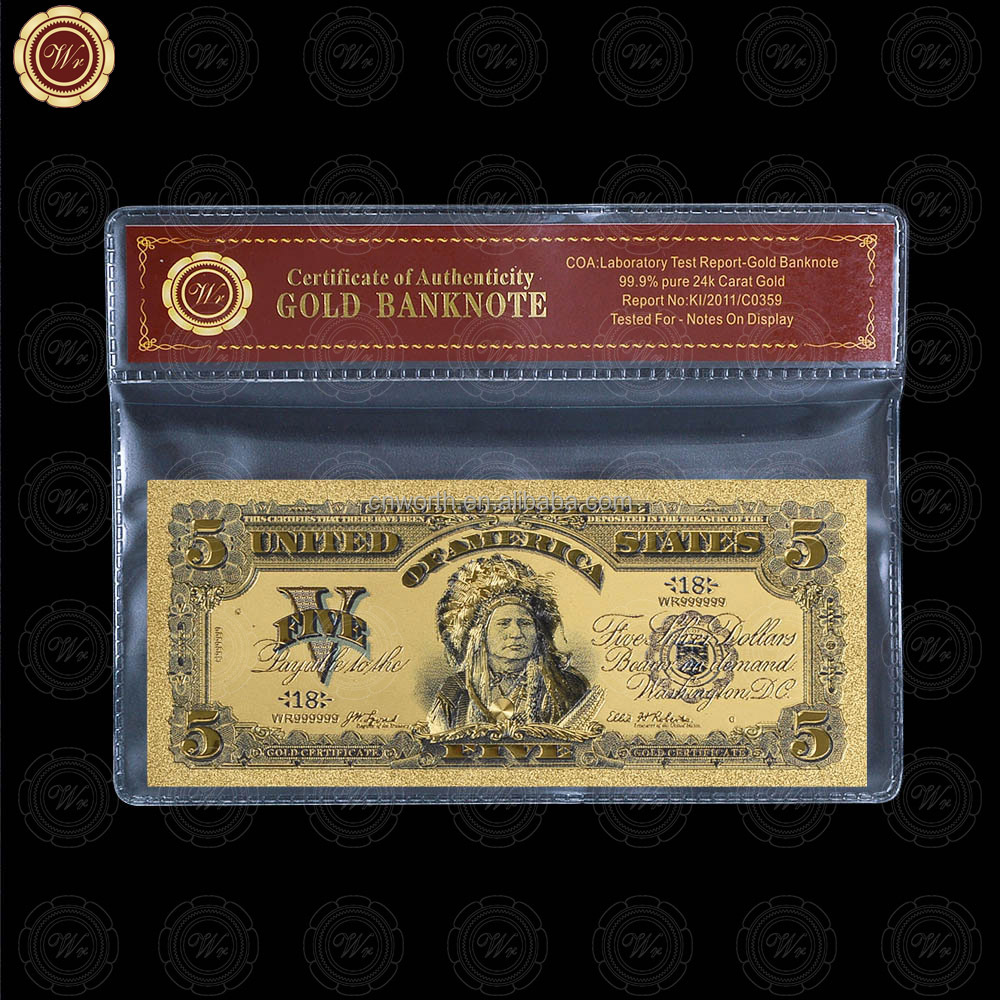 Wr Art <strong>Craft</strong> 99.9 Gold America Banknote Colorful 5 Dollars Paper Currency with Plastic Frame for Collection