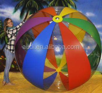 12 Panel 6 Color Clear Rainbow Stripe Beach Ball Custom