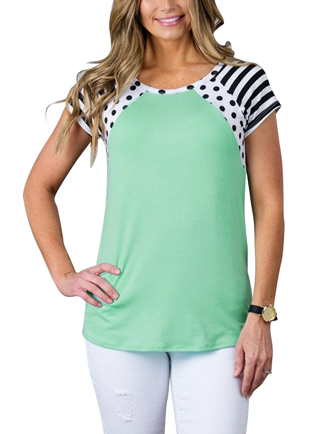 MEROKEETY Women's Polka Dots Shirt Striped 3/4 Sleeve Casual Scoop Neck Tops Tee