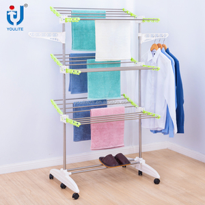 Folding heavy duty three layer clothes rack