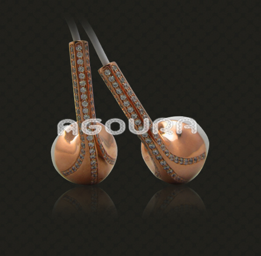 Rose gold plating crystal earphones for IPhone