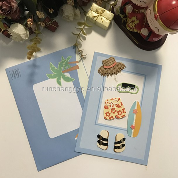 Pop up 3D Greeting Card With Seabeach Boy