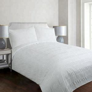 White simple 100% cotton seersucker bedding set 200X200CM