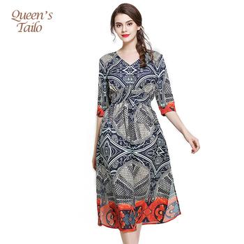 9c69665dc Vintage impreso mujer vestido de gasa de seda verano vestido Casual para  dama de oficina trabajo