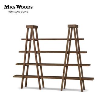 Vintage Reclaimed Wood Living Room Bookshelf Double Ladder Wooden Book Shelf