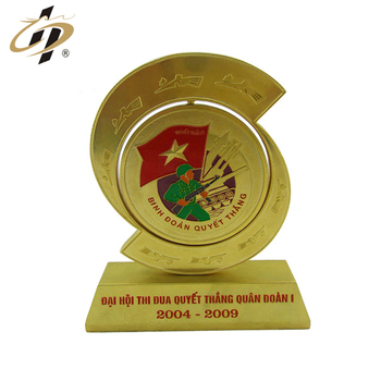 Shuanghua factory customized metal gold plaque award trophy