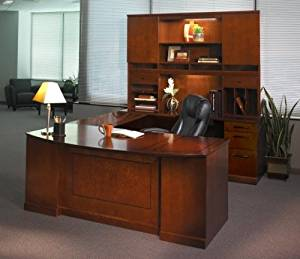"Mayline U Shaped Bow Front Desk W/Hutch Overall Footprint: 72"" X 111"" X 72"" Bow Front Desk: 72""W X 39""D X 29 1/2""H Bridge: 48"" X 20"", Credenza: 72""W X 24"" - Bourbon Cherry - Bridge on Right (Shown)"