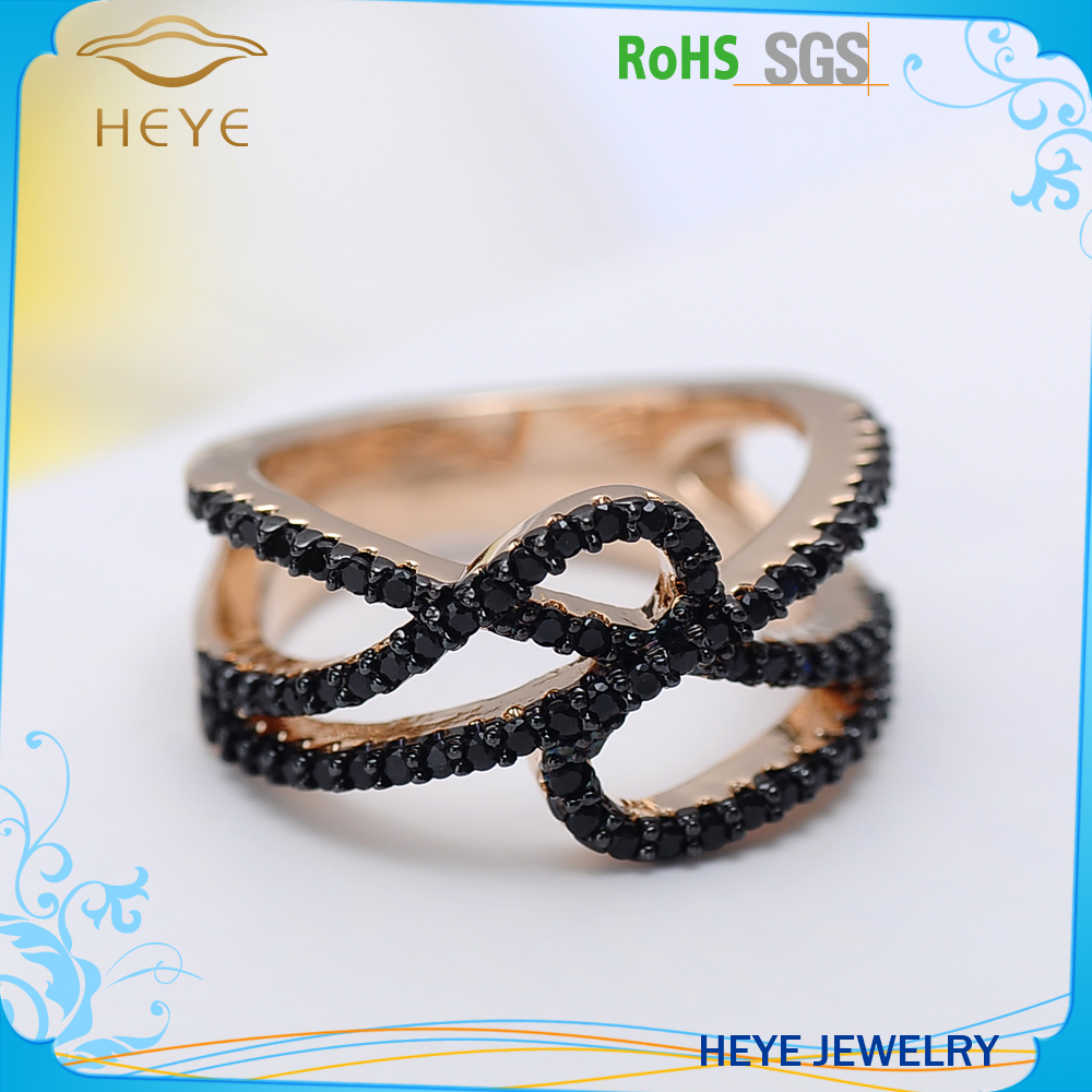 Fashion jewelry simple black brass rings factory price ring personality ring