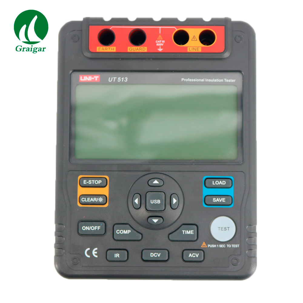 UNI-T UT513 Insulation Resistance Tester 1000ohm Digital Megger Tramegger 500V/1000V/2500V/5000V USB Interface