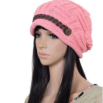 d28e575ed01 Women Winter Warm Ski Knitted Crochet Baggy Skullies Cap Beret Headwear Beanie  Hat