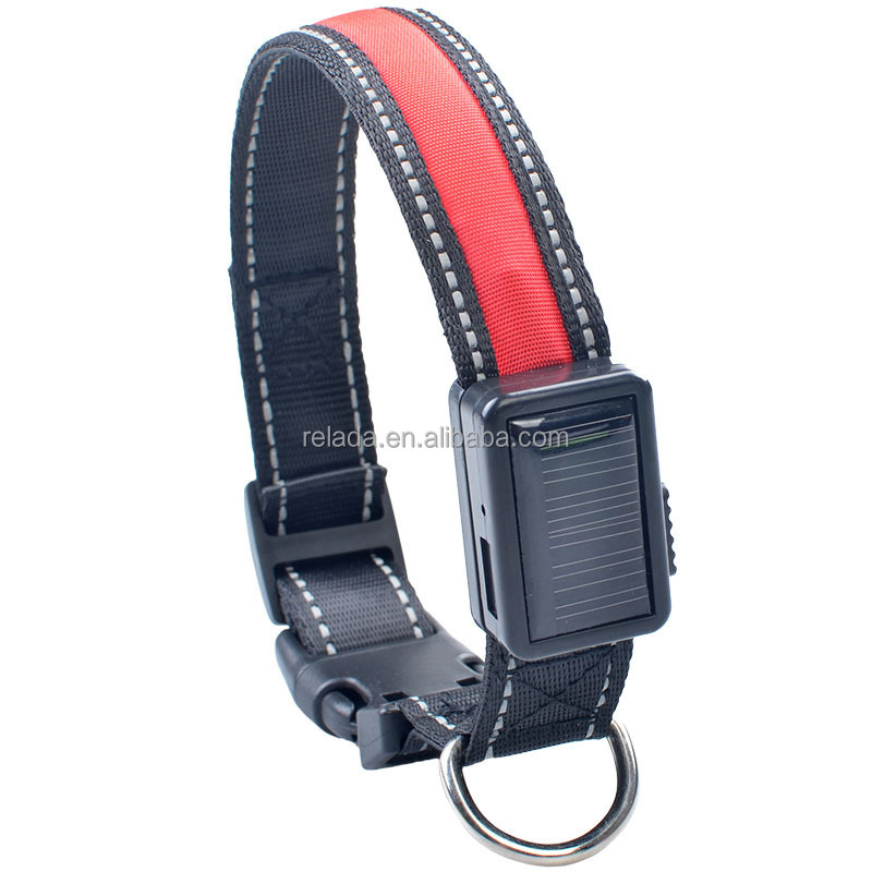 A new led solar designer dog collar with a led usb rechargeable flash dog collars night light neck rope pet supplies