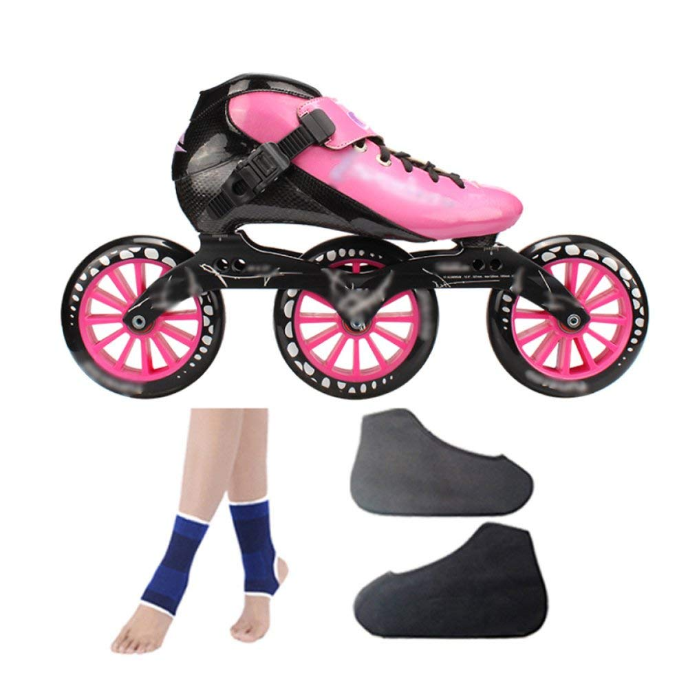 ZCRFY Carbon Fiber Speed Skating Shoes Racing Shoes Professional Adult Children's Large Roller Skating Shoes Roller Skates Inline Roller Skates Pink,PinkC-37