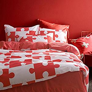 Jigsaw Puzzles Red Bedding Duvet Cover Set Kids Bedding Teen Bedding Dorm Bedding Gift Idea, Twin Size