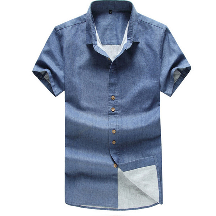 New Brand Cotton Line Shirts For Men 2015 Summer Mens Short Sleeve Casual Swag Slim Fit Shirt Tops Plus Size Camisa Masculina