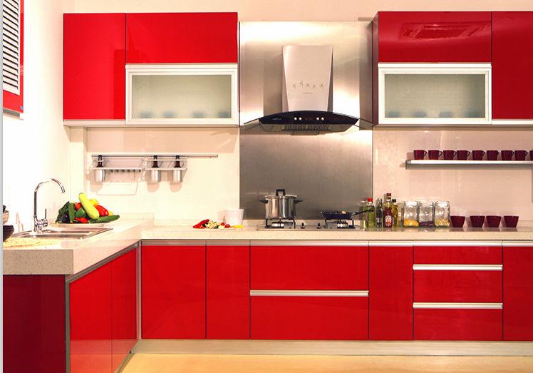 Popular Red Modern High Gloss Kitchen Cabinet MDF Kitchen Cabinet Aluminium Kitchen  Cabinet