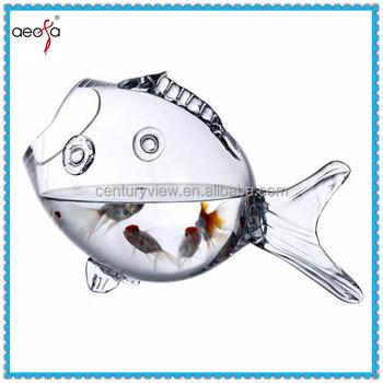 Clear Glass Fish Shaped Fish Bowls Fish Aquarium Table