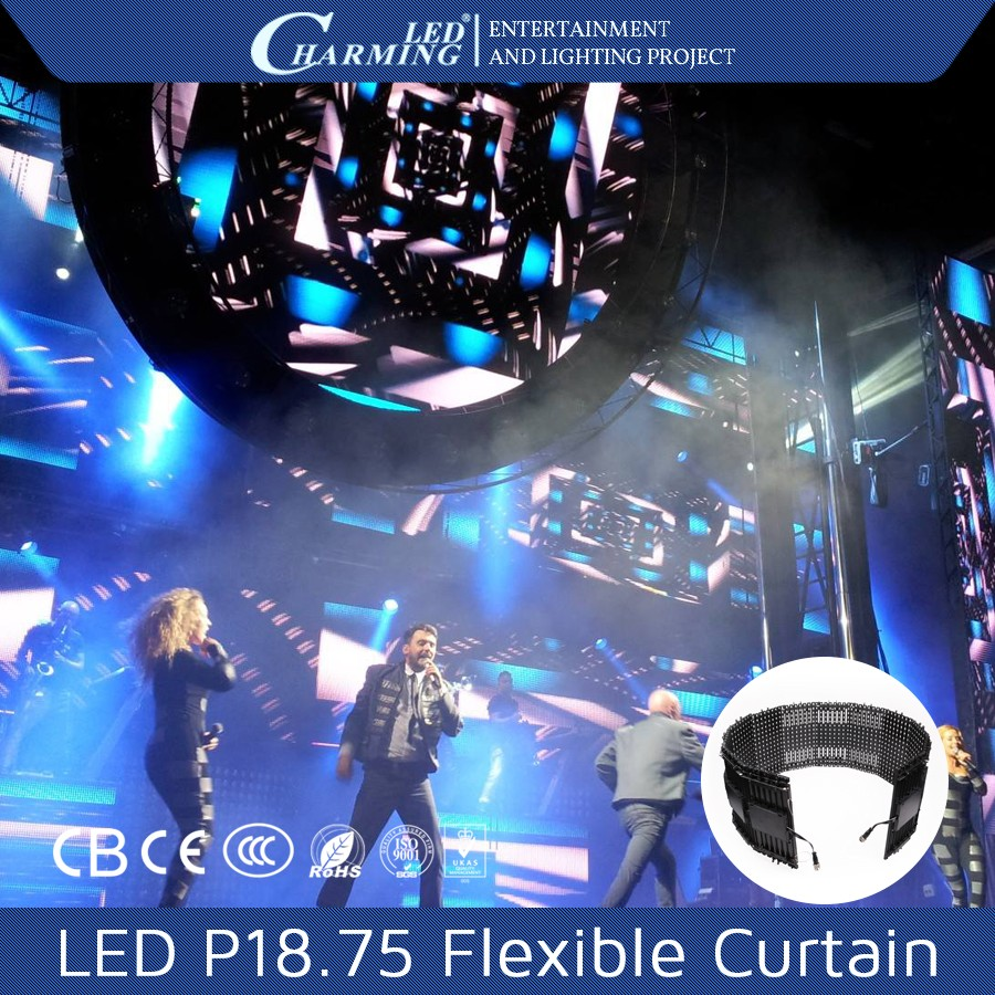 Charming Brand flexible stage led curtain 5050 led curtain display p18 led video curtain