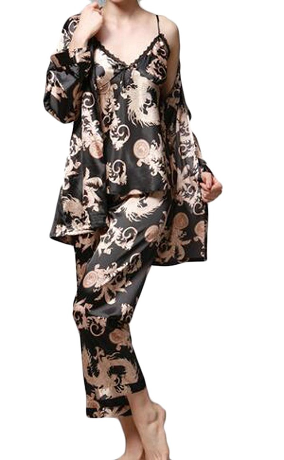 e75091ed09 Get Quotations · Jaycargogo Womens Pajamas 3PCs Suit Silk Satin Dragon  Print Pajamas Set Sleepwear
