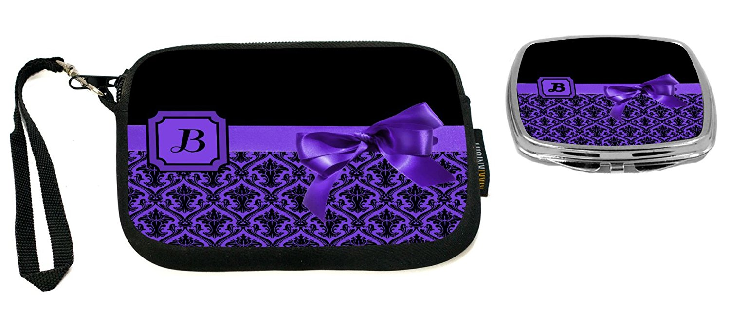 """Rikki Knight Letter""""B"""" Purple Monogram Damask Bow Design Neoprene Clutch Wristlet with Matching Square Compact Mirror"""