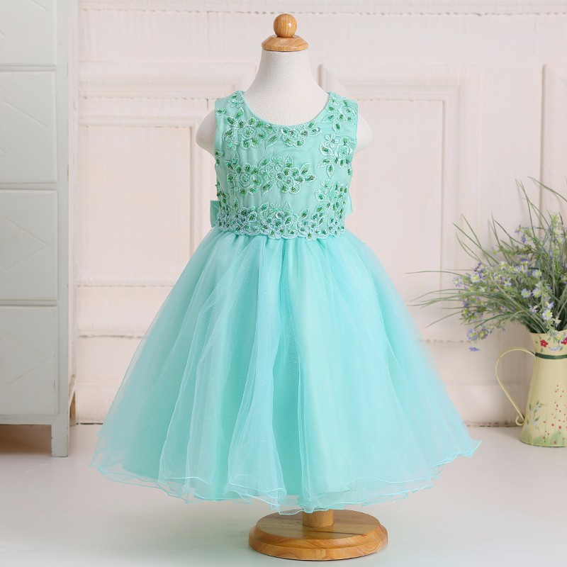 New Arrival Baby Girl Party Wear Dress Sequins Flower Net Dress For ...