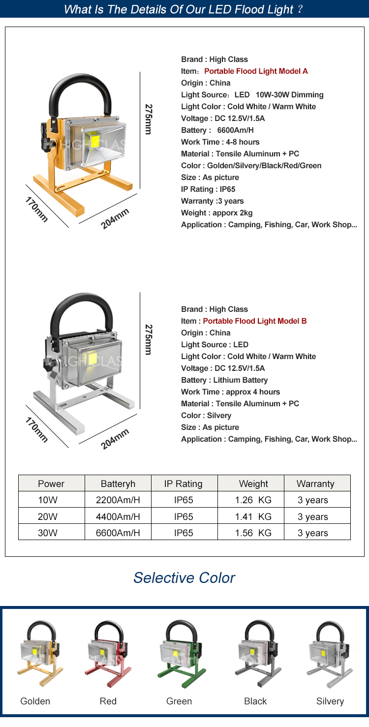Rechargeable high lumen 30W portable battery powered led flood light