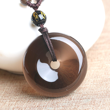 Natural Ice Obsidian Round Peace Clasp Pendant Necklace Ethnic Jewelry Glossy Pendant With Bead Chain Men Women Anniversary Gift