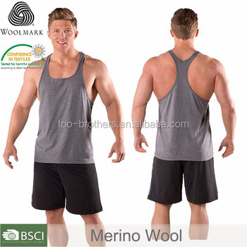 eb905c40c88d8 Plainy back tank tops for men bodybuilding 100% merino wool tank top  stringer tank top