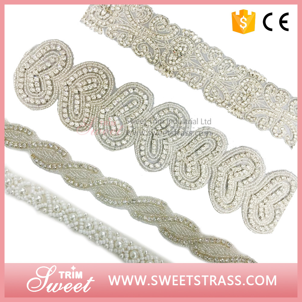 2016 New Design !! Bridal crystal rhinestones appliques for wedding dress