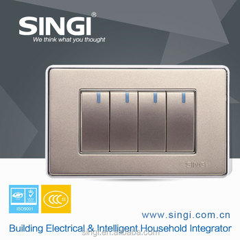 Nice price 250V 118mm 4 gang 1 way control home light wall switch
