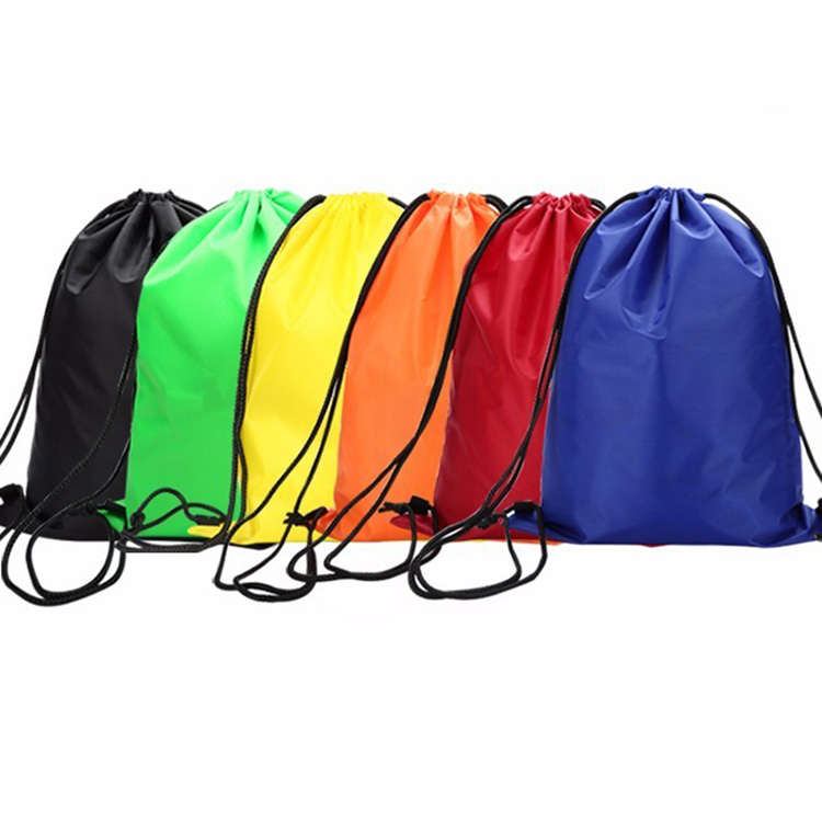 Wholesale Promotional Recycled Custom logo organic waterproof reusable small polyester Nylon drawstring backpack bags