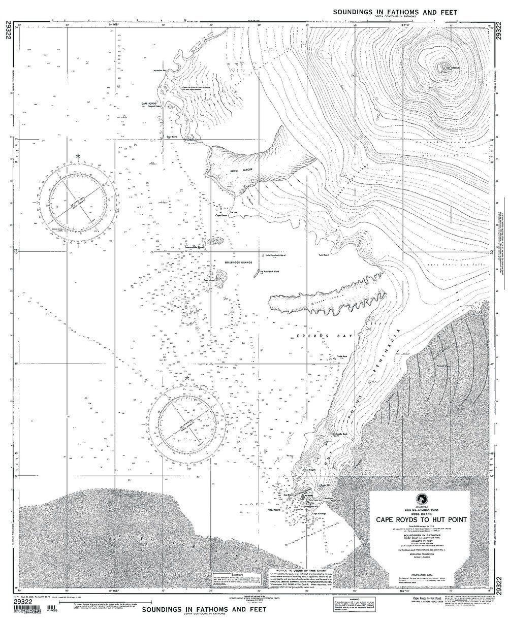 NGA Chart 29322WP: C Royds To Hut P Ross I Ross Sea Mcmurd; 35.25 X 43; WATERPROOF