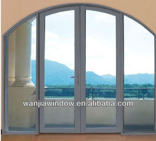 High Grade Wood Grain Aluminum Arched Top Interior Doors