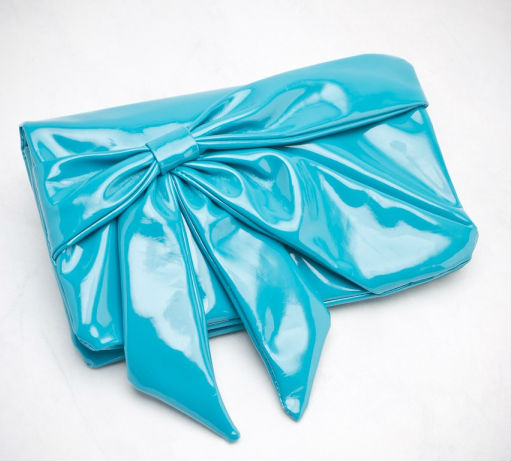 2014 stylish faux Patent leather Evening Bow Clutch bag