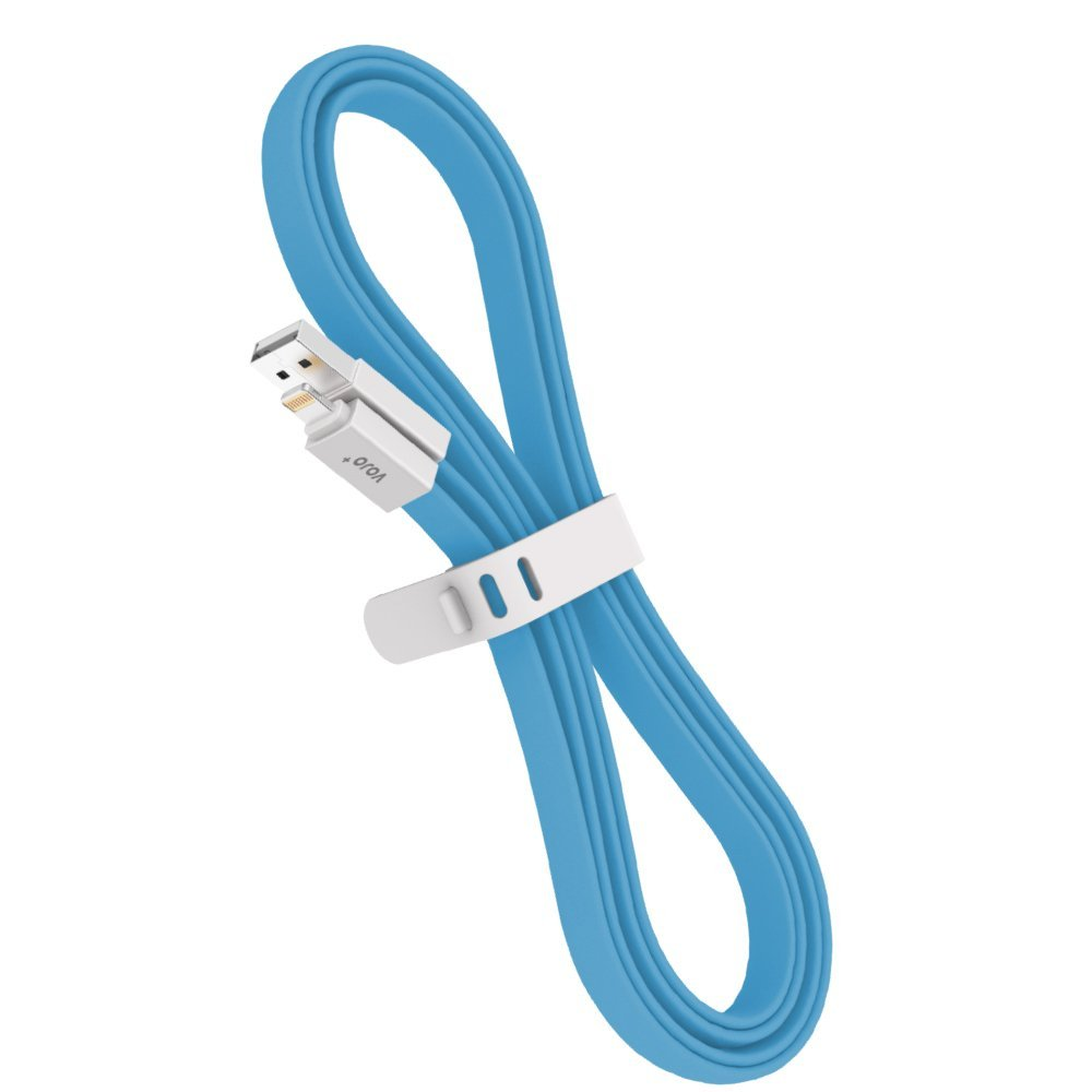 [Apple MFi Certified] Lightning 8pin to USB Cable VOJO iTRIM4 [Blue], 3.3ft / 1mTangle-Free8 pin Sync & ChargerFlat Cord for iPhone 66sPlus5 SE5S 5C,iPadMini 4 3 Air 2 Pro,iPod Touch Nano 5