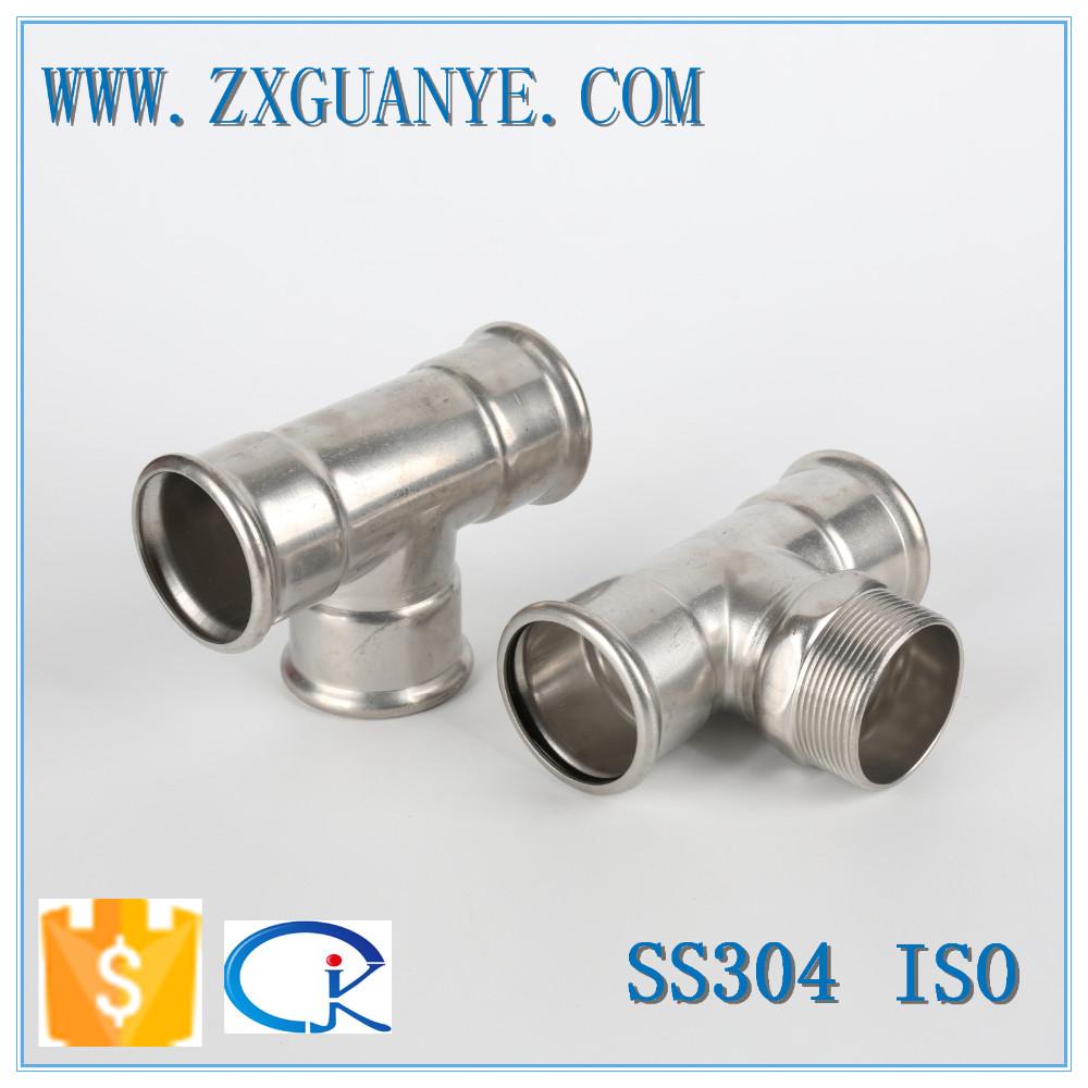 Stainless steel pipe press tee fittings exporter buy