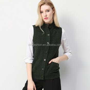 Trui Vest.Dames Fancy Kasjmier Halve Kraag Knoppen Mouwloos Vest Trui Vest Met