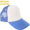 Custom Label Modern Twill Metal Buckle plastic visor six panel patch Royal Blue Hip Hop trucker hats for women