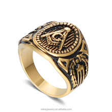 Hot Sale 316L Stainless Steel Men Ring Gold Vintage Antique Masonic Rings