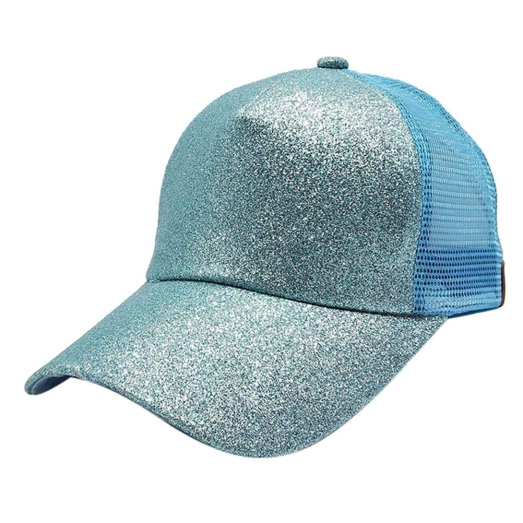 Get Quotations · Unisex Fashion Baseball Cap Hats Mesh Adjustable Bling  Sequin Decoration Lovely Baseball Cap Sun Hats ( 3f372c45af06