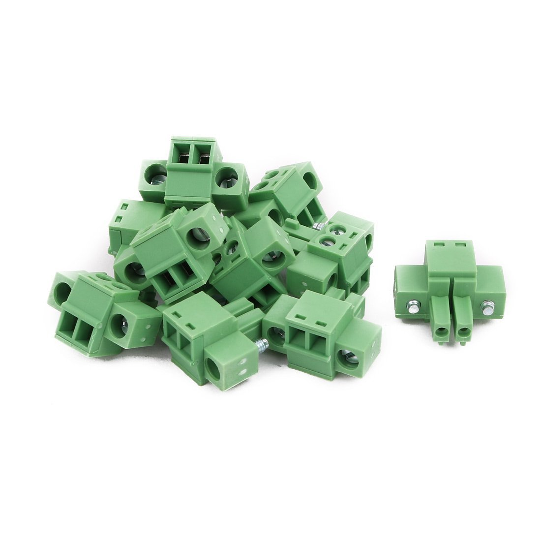 uxcell 10Pcs AC 300V 8A 3.5mm Pitch 2P PCB Mounted Terminal Block Wire Connection Green