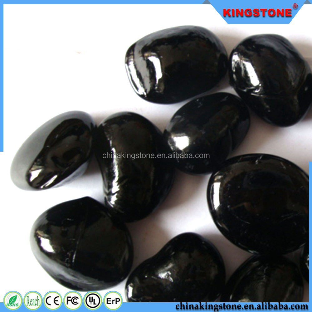 2015 new arrival black glass stone pebble,mexican beach pebble with wholesale price,stripe pebble stone