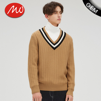 Fashion Knitting Chunky Pattern V Neck Mens Cricket Sweater For