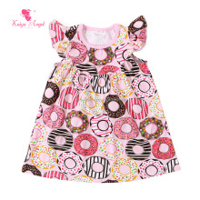 pink donuts printed girl loose frocks cutting baby simple cotton dresses